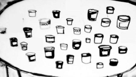 Illustration of jam jars on a table