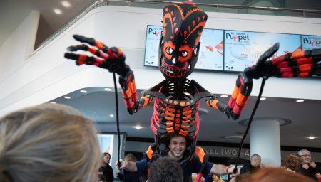 A giant skeleton puppet part of the Nottingham Puppet Festival launch