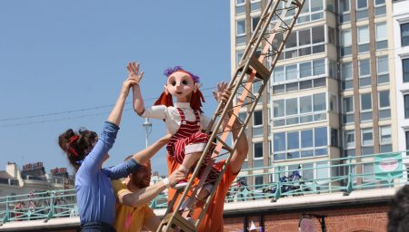 Puppet Climbing Theatrical Scaffolding