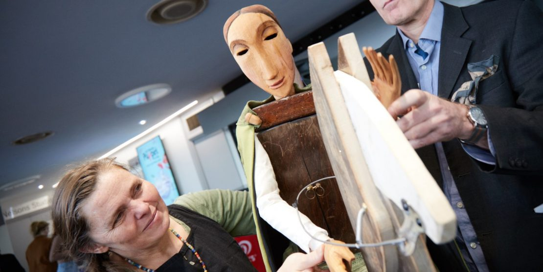 Maid Marionette Nottingham Puppet Festival mascot created by artist Alison Duddle